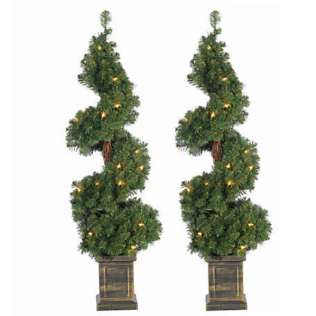 Sterling Tree Company Pre-Lit Potted Spiral Trees, Set of 3, 5213--35C
