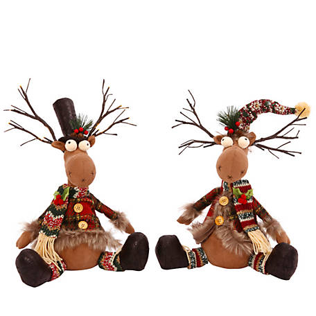 Gerson International 15 in. Plush Reindeer, Set of 2 Assortment, 2356340EC
