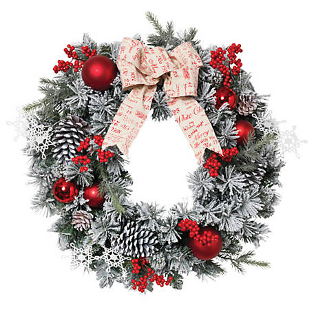 Gerson International 24 in. Accented Flocked Pine Wreath with Short/Long Needles, Berries and Ornament, 2376430EC