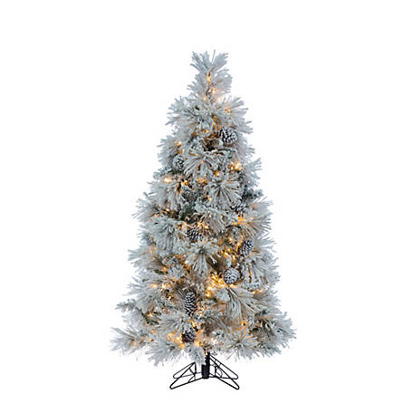 Sterling Tree Company 5 ft. LED Flocked Crystal White Pine Christmas Tree, 5871--50MLWW
