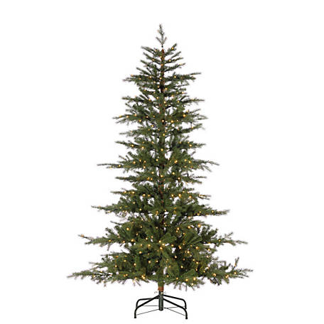 Sterling Tree Company 7.5 ft. LED Natural Cut Pine Tips Layered Timberland Christmas Tree, 6381--75MLWW
