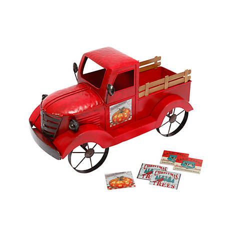 Gerson International 19 in. Metal Antique Truck, Red, 2420230EC