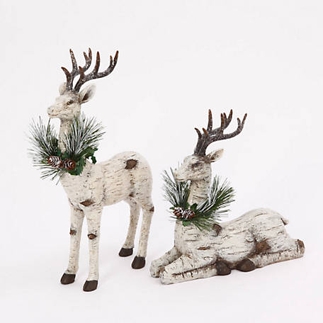 Gerson International 8.9 in. Stand & Sit Reindeer, Assorted Set of 2, 2357910EC