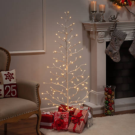 Everlasting Glow 5 ft. Electric 2-D Tree with Warm White LED Lights and Outdoor Adapter, White, 2441130EC