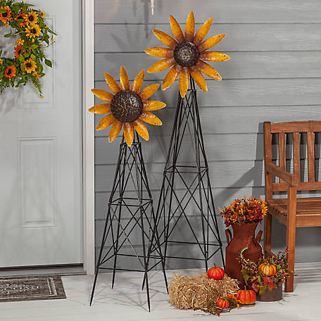 Gerson International Metal Sunflower Windmill, Assorted Set of 2, 2480828EC