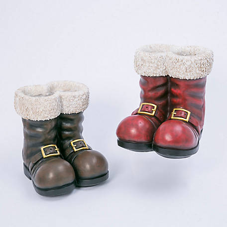 Gerson International 12.5 in. Santa Boots, Set of 2, 2485590EC