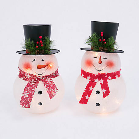Gerson International 13.75 in. Electric Frosted Snowman Lights with Metal Top Hat, Set of 2, 2489280EC