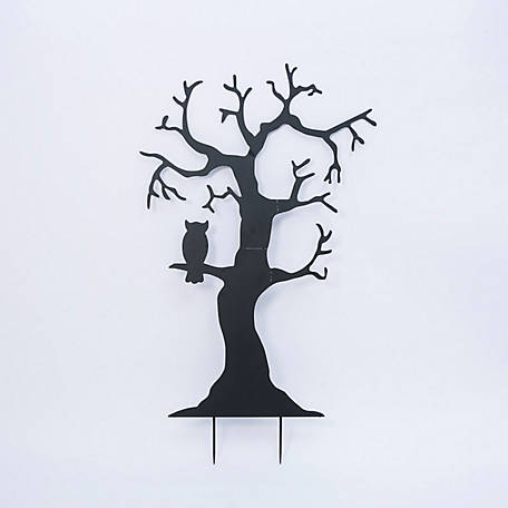 Gerson International 72.5 in. Metal Tree Silhouette Yard Stake with Owl feature, 2495780EC