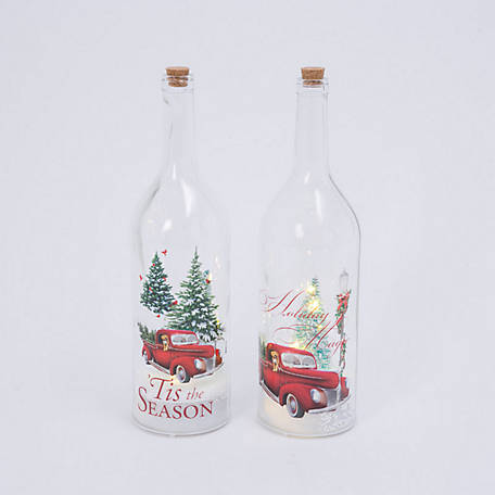 Gerson International 17.9 in. Battery-Operated Holiday Truck Glass Bottle with Snow-Blowing Features, Set of 2, 2495960EC