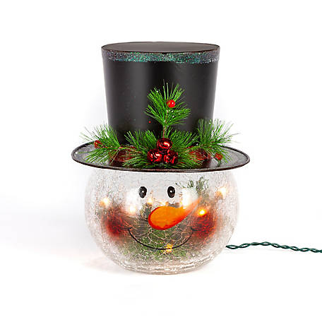 Gerson International 12 in. Electric Lighted Crackle Glass Snowman Head Lamp, 2099870EC