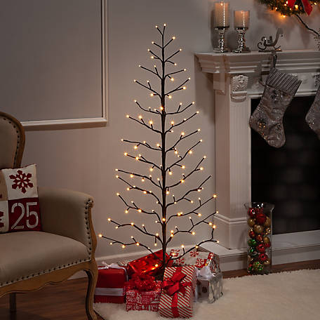 Everlasting Glow 5 ft. Electric 2-D Tree with Warm White LED Lights and Outdoor Adapter, Brown, 2441090EC