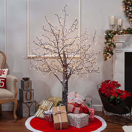 Everlasting Glow 6 ft. Electric Snowy Bark Tree with LED lighting, 2280940EC