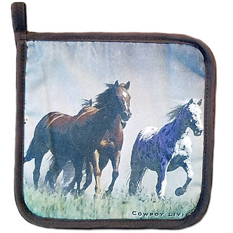 Cowboy Living Horses Running Hot Pad, 5676
