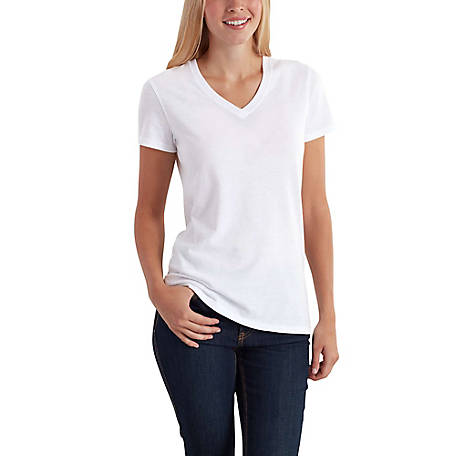 Carhartt Women's Short Sleeve Soild V-Neck Tee, 102452