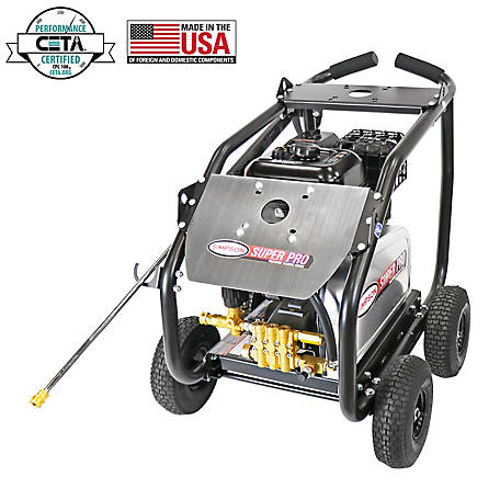 SIMPSON SuperPro Roll-Cage 4400 PSI at 4.0 GPM SIMPSON 420cc & AAA Triplex Plunger Pump Belt Drive Gas Pressure Washer, 65211