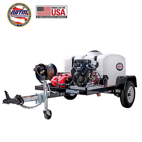 Simpson 4200 PSI at 4.0 GPM VANGUARD V-Twin CAT Triplex Plunger Pump Cold Water Professional Gas Pressure Washer Trailer, 95004