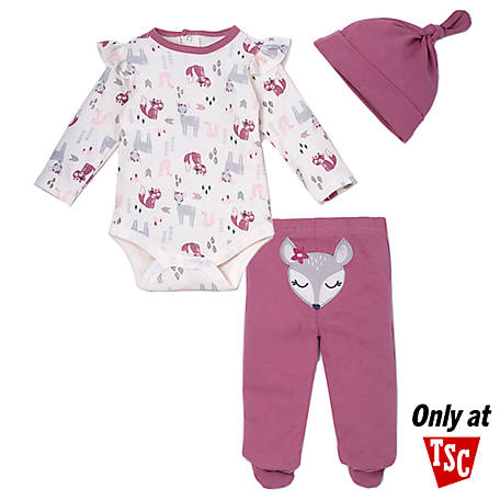 chick pea Girls' 3 Piece Long Sleeve Footed Pant Set, Purple Fox, HE12511787R