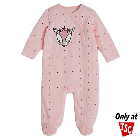 chick pea Girls' Velour Footed Coverall, Light Pink Fox, HE12516333