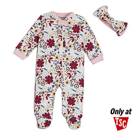 chick pea Girls' 2 Piece Footed Coverall Set, Pink Floral, HE12516818