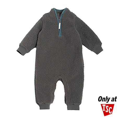 chick pea Boys' Single Unfooted Coverall, Grey Sherpa, PE22516237