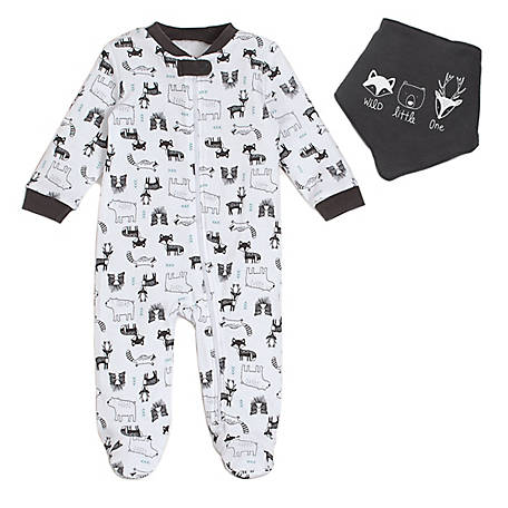 chick pea Boys' 2 Piece Footed Coverall, White Woodland, HE22516354