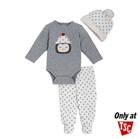 chick pea 3-Piece Long Sleeve Footed Pant Set Grey Penguin, HE02917083