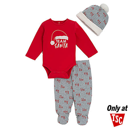 chick pea 3-Piece Long Sleeve Footed Pant Set Red Santa, HE02917084