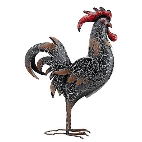Red Shed Black Crackle Metal Rooster