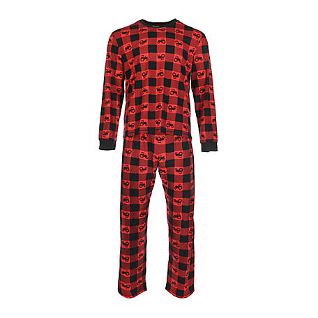 pajamarama Men's Two Piece Pajama Set, Red Tractor