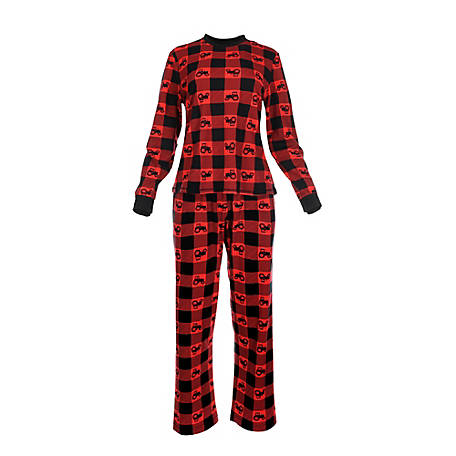 pajamarama Women's Two Piece Pajama Set, Red Tractor