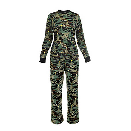 pajamarama Women's Two Piece Pajama Set, Green Camouflage