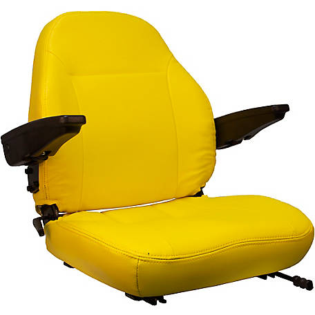 Black Talon Premium High-Back Seat with Arm Rests and Slides, Vinyl, Yellow,440002YE-SGL