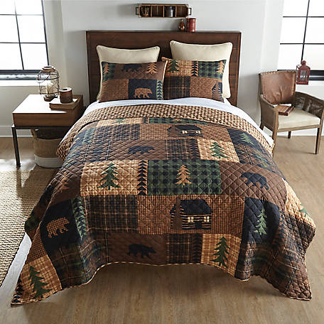 Donna Sharp Brown Bear Cabin King Quilt Set, Y20007