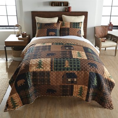 Donna Sharp Brown Bear Wildlife Quilted Rustic Country King 3-Piece Bedding Set