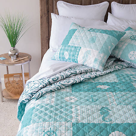 Donna Sharp Seahorse Grid King Quilt Set, Y20047