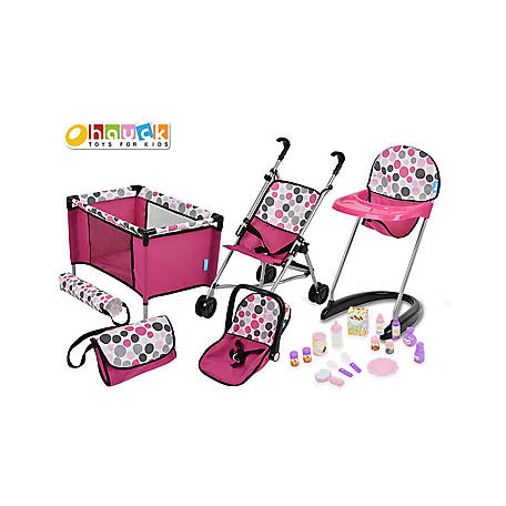 Hauck 21 Piece Pretend Play Baby Doll Care Set - Stroller, Car Seat, Highchair, Play Yard, Diaper Bag, etc., D96409