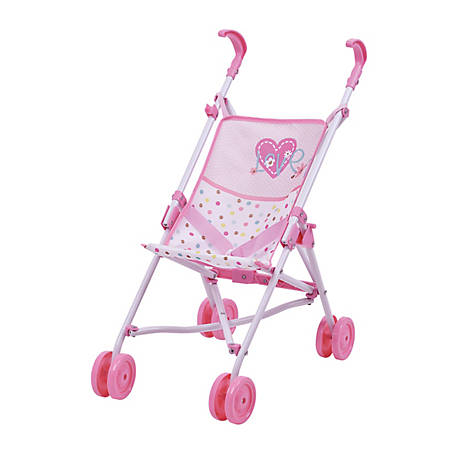 Hauck Love Heart Pretend Play 18 in. Baby Doll Umbrella Stroller, D81023