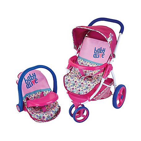 Baby Alive Pretend Play Baby Doll Travel System with Stroller & Car Seat, D85591