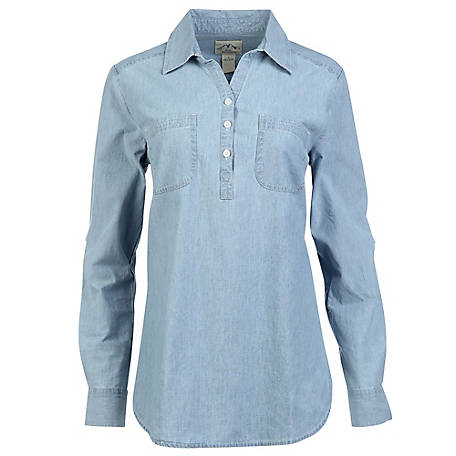 Blue Mountain Women's Long Sleeve Chambray Popover