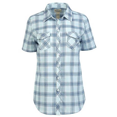 Blue Mountain Women's Short Sleeve Plaid Camp Shirt