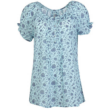 Blue Mountain Women's Short Sleeve Printed Angel Top