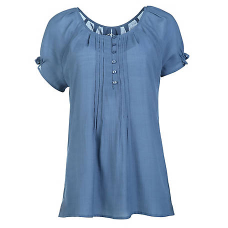 Blue Mountain Women's Short Sleeve Solid Angel Top
