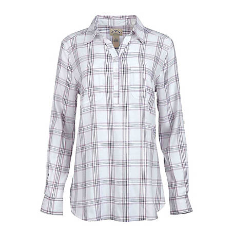 Blue Mountain Women's Long Sleeve Plaid Popover