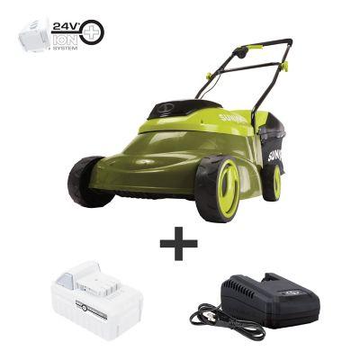 Sun Joe 24-Volt iON+ 14 in. Cordless Brushless Lawn Mower Kit, MJ24C-14-XR