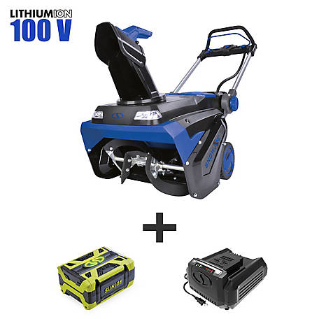 Snow Joe 100-Volt 5-Amp 21 in. 5Ah Cordless Snowblower, ION100V-21SB