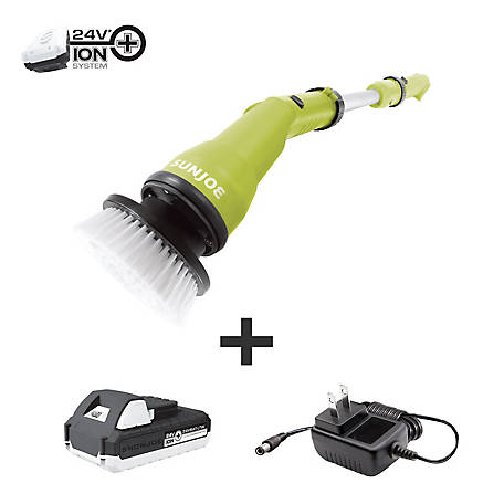 Sun Joe 24V Cordless Handheld Scrubber Brush, 24V-PWSCRB-LTW