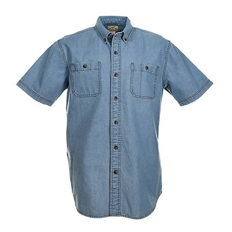 Blue Mountain Men's Short Sleeve Denim Shirt
