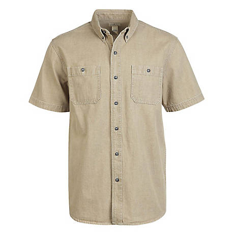Blue Mountain Men's Short Sleeve Colored Denim Shirt