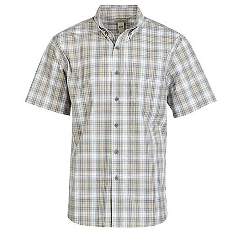 Blue Mountain Men's Short Sleeve Poplin Plaid Shirt