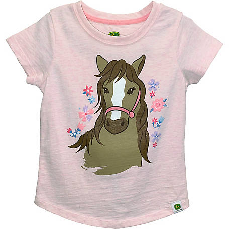 John Deere Girls' Toddler Horse T-Shirt, J1T271PTT
